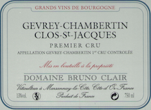 Domaine Bruno Clair Gevrey-Chambertin Premier Cru Clos Saint-Jacques label