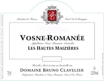 Domaine Bruno Clavelier Vosne-Romanée Les Hautes Maizières Vieilles Vignes label