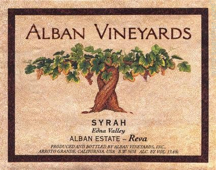 Alban Vineyards Reva Syrah label
