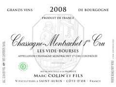 Domaine Marc Colin et Fils Chassagne-Montrachet Premier Cru Vide Bourse label