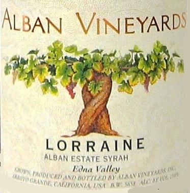 Alban Vineyards Lorraine Syrah label