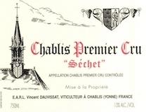 Vincent Dauvissat Chablis Premier Cru Séchet label
