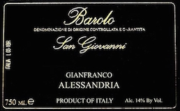 Gianfranco Alessandria Barolo San Giovanni label