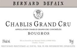 Domaine Bernard Defaix Chablis Grand Cru Bourgros label