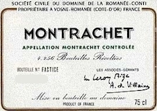Domaine de la Romanée-Conti Montrachet Grand Cru  label