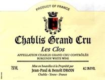 Jean-Paul et Benoît Droin Chablis Grand Cru Les Clos label