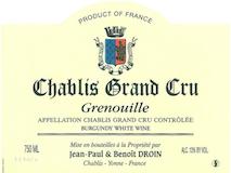 Jean-Paul et Benoît Droin Chablis Grand Cru Grenouilles label