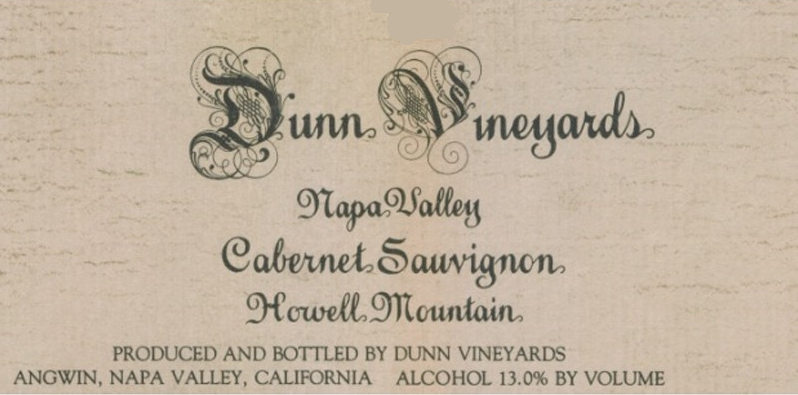 Dunn Vineyards Howell Mountain Cabernet Sauvignon label