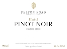 Felton Road Pinot Noir Block 3 label