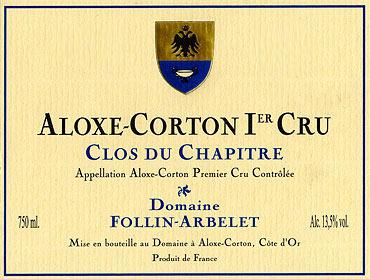 Domaine Follin-Arbelet Aloxe-Corton Premier Cru Clos du Chapitre label