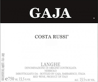 Gaja Barbaresco Costa Russi label