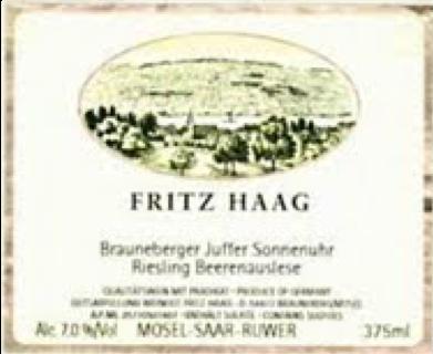 Fritz Haag Brauneberger Juffer Sonnenuhr Riesling BA label