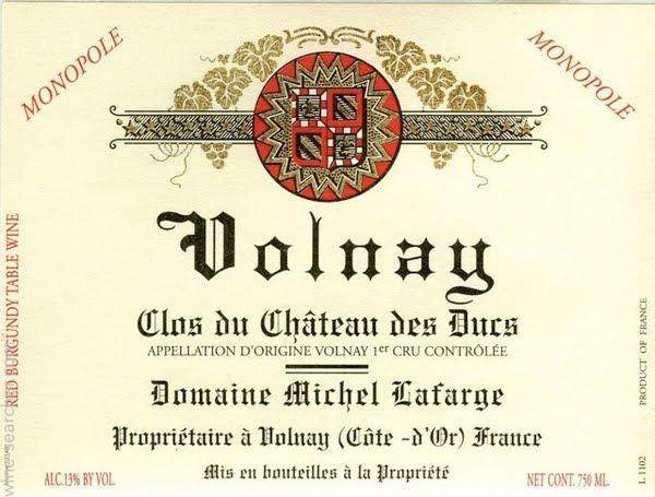 Domaine Michel Lafarge Volnay Premier Cru Clos du Château des Ducs label