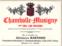 Domaine Ghislaine Barthod Chambolle-Musigny Premier Cru Les Baudes label