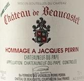 Château de Beaucastel Châteauneuf-du-Pape Hommage à Jacques Perrin label