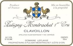 Domaine Leflaive Puligny-Montrachet Premier Cru Clavoillon label