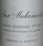 Domaine de Montille Vosne-Romanée Premier Cru Aux Malconsorts label