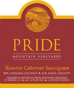 Pride Mountain Vineyards Reserve Cabernet Sauvignon label