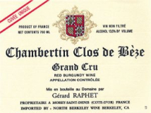 Domaine Gérard (formerly Jean) Raphet Chambertin Clos de Bèze Grand Cru  label