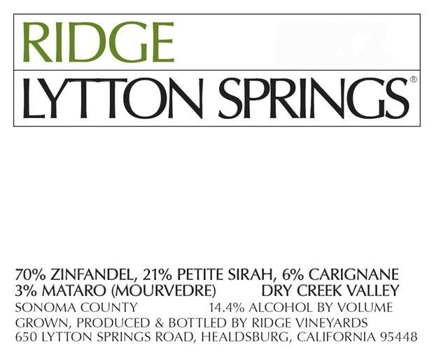 Ridge Vineyards Lytton Springs label