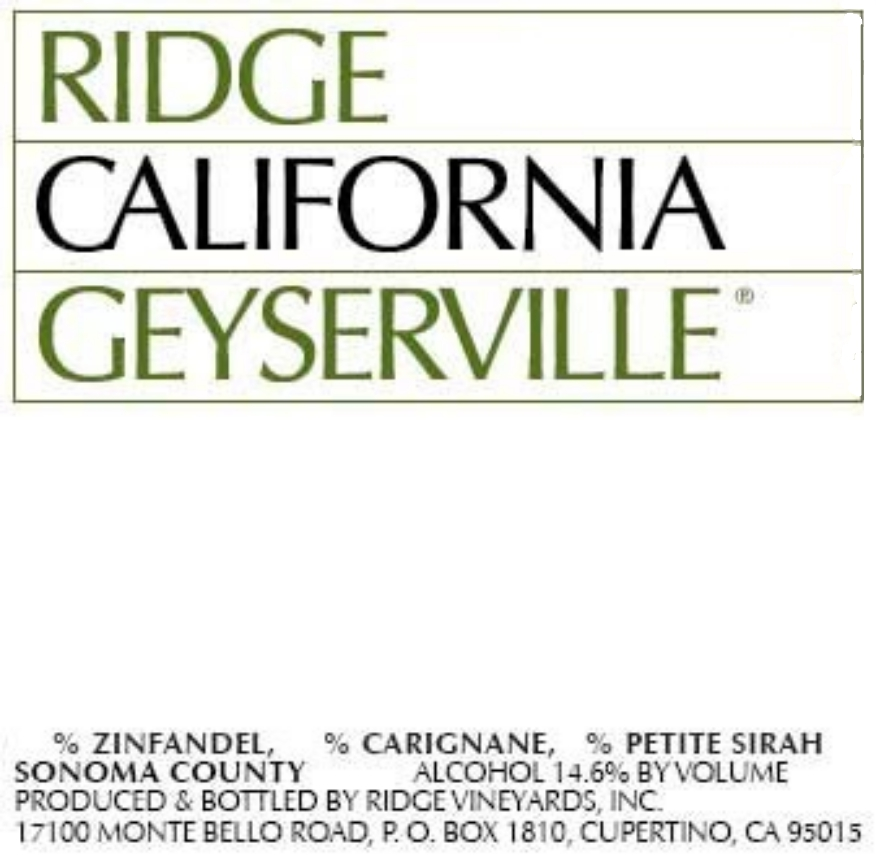 Ridge Vineyards Geyserville label