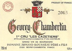 Domaine Armand Rousseau Gevrey-Chambertin Premier Cru Les Cazetiers label