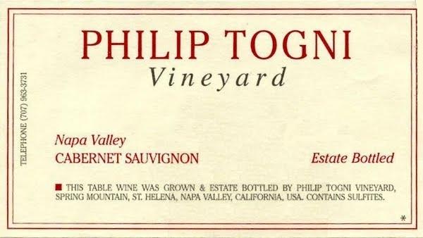 Philip Togni Vineyard Cabernet Sauvignon label