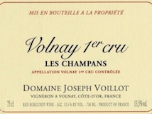 Domaine Joseph Voillot Volnay Premier Cru Champans label
