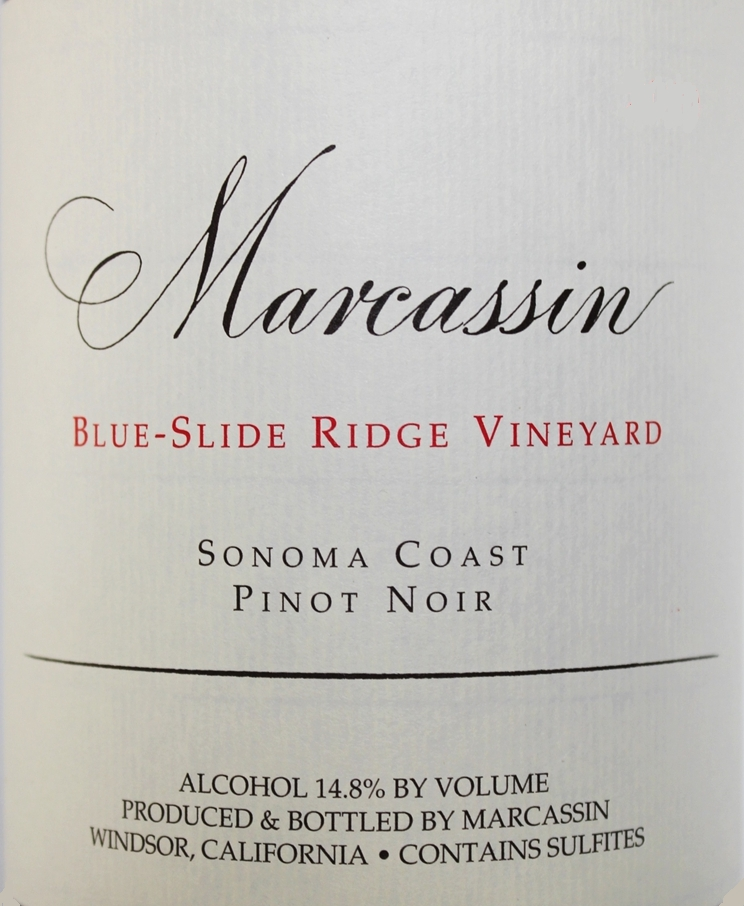 Marcassin Blue Slide Ridge Pinot Noir label