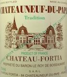 Château Fortia Châteauneuf-du-Pape Tradition label