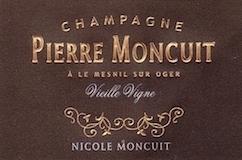Pierre Moncuit Cuvée Nicole Moncuit Blanc de Blancs Vieilles Vignes Grand Cru label