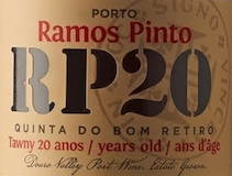 Ramos Pinto Porto Quinta do Bom Retiro 20 Year Old Tawny Port label