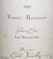 Domaine Cécile Tremblay Vosne-Romanée Premier Cru Les Beaux Monts label
