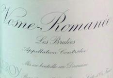 Domaine Leroy Vosne-Romanée Premier Cru Aux Brûlées label