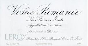 Domaine Leroy Vosne-Romanée Premier Cru Les Beaux Monts label