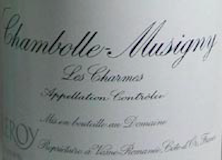 Domaine Leroy Chambolle-Musigny Premier Cru Les Charmes label
