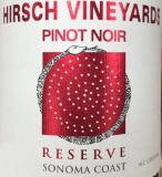 Hirsch Vineyards Reserve Estate Pinot Noir label