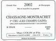 Domaine Marc Colin et Fils Chassagne-Montrachet Premier Cru Les Champs Gain - label