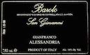 Gianfranco Alessandria Barolo San Giovanni - label