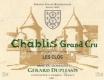 Domaine Gérard Duplessis Chablis Grand Cru Les Clos - label