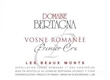 Domaine Bertagna Vosne-Romanée Premier Cru Les Beaux Monts - label