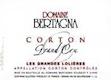 Domaine Bertagna Corton Grand Cru Les Grandes Lolières - label