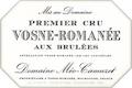 Domaine Méo-Camuzet Vosne-Romanée Premier Cru Aux Brûlées - label