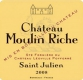 Château Moulin Riche  - label