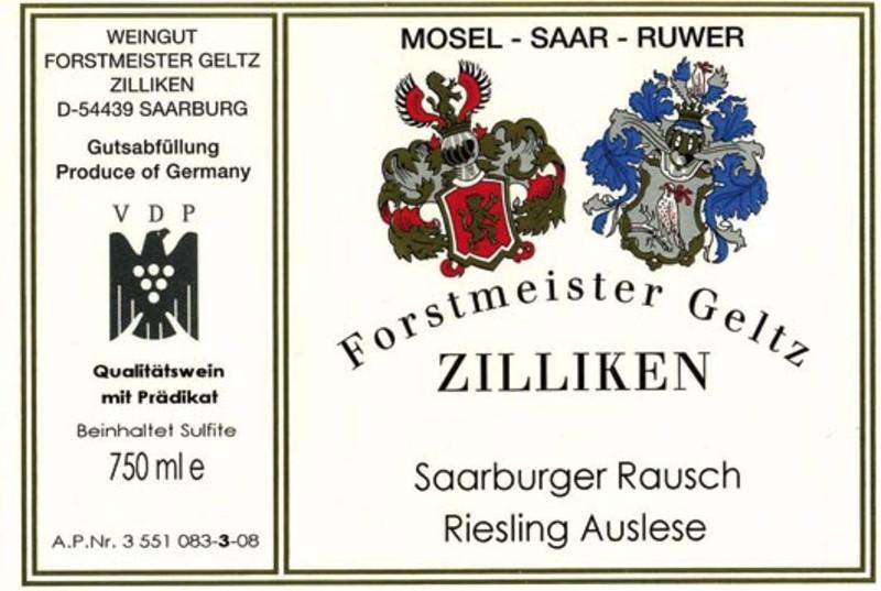 Weingut Forstmeister Geltz-Zilliken Saarburger Rausch Riesling Auslese Goldkapsel - label