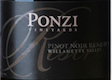 Ponzi Vineyards Reserve Pinot Noir - label