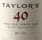 Taylor's Porto  40 Year Old Tawny Port - label