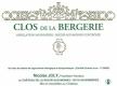 Coulée de Serrant (Nicolas Joly) Clos de la Bergerie - label