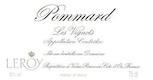 Domaine Leroy Pommard Les Vignots - label
