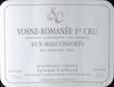 Sylvain Cathiard Vosne-Romanée Premier Cru Aux Malconsorts - label